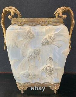 The Best Antique Phoenix/consolidated Glass Fish Vase With Gold Filigree Accent
