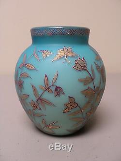 Thomas WEBB Blue Satin Art Glass Vase, Jules BARBE Enamel, c. 1880