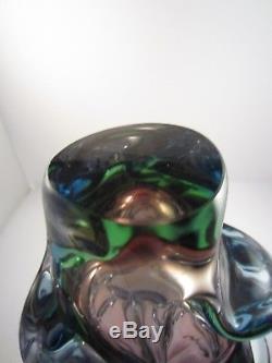 Three Colour Jan Kotik Atlas Vase Purple Green Blue Glass Bohemian Skrdlovice