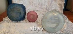 Three Vintage DAUM NANCY Art Glass VASES BOWL All Signed Blues Reds LtBlue Gilt