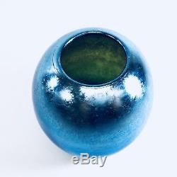Tiffany Favrile Blue Iridescent Vase Signed LC 1995B
