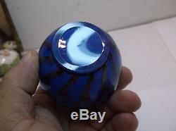 Tiny Blue Loetz silver overlay vase Weiner Werkstatte glass