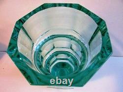 UNIQUE AQUAMARINE URANIUM CUT GLASS FACETED VASE MOSER 9.65 tall #2