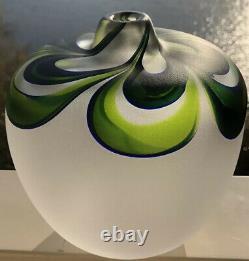 UNIQUE! GORAN WARFF KOSTA BODA SWEDEN Art Jewel Frosted Glass Vase, H 6, MINT