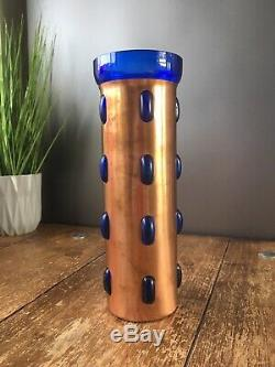 Ultra Rare MID Century Modern Nanny Still For Raak Copper & Blue Glass Ufo Vase