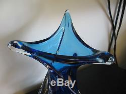 Unsigned Chalet Blue Art Glass Sculpture Vase