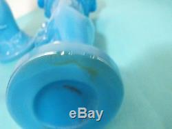 Unusual Pair of Westmoreland Blue Milk Glass Hand Vases