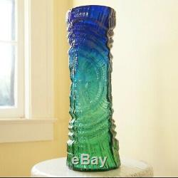 Uranium Glass Vase VTG 16 Art Glass Vase Bark Texture Cobalt Blue Green Cased