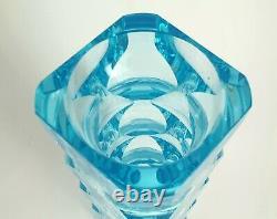 VASE EXBOR OLDRICH LIPSKY 1964 BLUE 60s H. 21 cm CZECHOSLOVAKIAN ART GLASS
