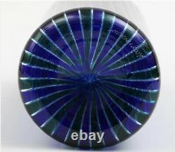 VENINI Murano Canne Verticali Glass Bottle Vase Blue Striped Signed