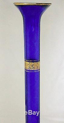 VERY RARE Lovely 1930's Cobalt Tiffin Rambler Rose Gold Encrusted Stick Vase 12