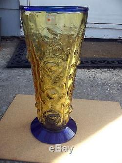 VINTAGE BLENKO LARGE TEXTURED COBALT BLUE/YELLOW WithLABEL VASE 13IN. TALL