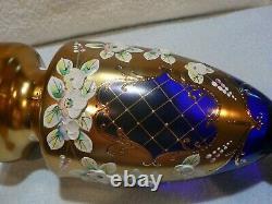 VINTAGE BOHEMIAN CZECH GOLD COBALT BLUE GLASS VASE FLORAL ENAMEL 24K Gold -MINT