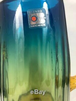 VINTAGE FUNKY BLENKO CACTUS VASE 7 1/2 Tall Yellow Blue Amber Blown Glass 8F