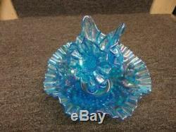 VINTAGE Fenton Blue carnival Opalescent Hobnail 4-piece Flower Vase Epergne