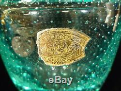 VINTAGE VAL ST LAMBERT AQUA TEAL BUBBLE ART GLASS VASE With ORIGINAL LABEL