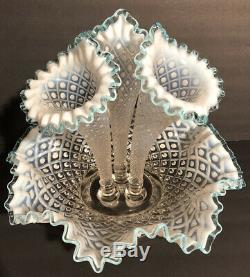 VTG Fenton 3-Horn Epergne Diamond Lace Aqua Blue Crest French Opalescent NM