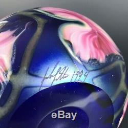 VTG John Lotton Glass Vase Multi Flora Cobalt Blue Pink Flowers Vines Signed