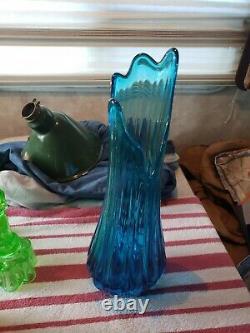 VTG Lg L. E. SMITH BLUE RIBBED FAT GLASS 20 1/4 SWUNG STRETCH VASE