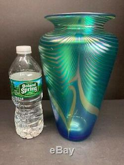 VTG STEVEN CORREIA Pulled Feather Iridescent Vase 1991 Art Glass Signed 10 Tall