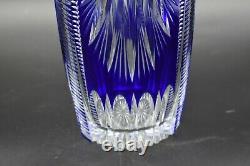 Val St Lambert Belgian Cobalt Blue Cut To Clear Brilliant Period 12 1/2 Vase