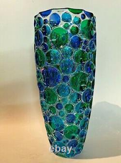 Vases Kaleidoscope Italian Crystal Vase Hand Painted Blue & Green