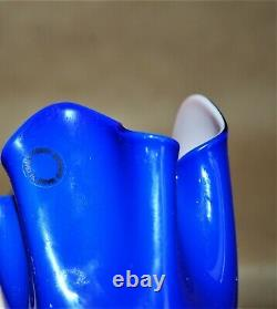 Venini Murano Glass Fazzoletti Handkerchief Vase Blue Lavender Fulvio Bianconi