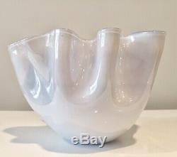 Venini Murano Italy Cased Glass Handkerchief Vase w Etched Mark
