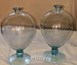 Venini VERONESE HAND BLOWN GLASS VASES PAIR, LIMITED EDITION