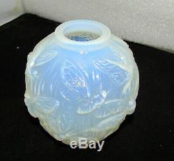 Verlys Art Glass Les Phalenes Moth Vase Art Deco Circa 1938 Lt Blue Opalescent