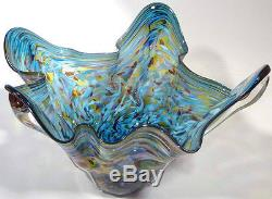 Very Large 18 Hand Blown Glass Art Fluted Bowl Vase Blue Purple Red Aqua Gold