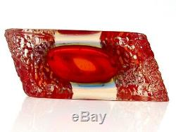 Very Large Murano Sommerso Submerged Space Age UFO Block Textured Block Vase