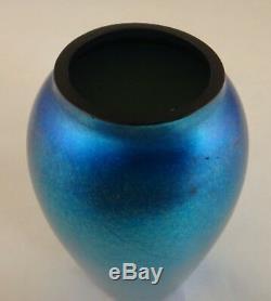 Victor Durand Blue Aurene Art Glass Vase. 5 5/8, Nice Iridescence. C. 1910-1925