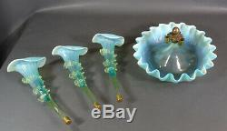 Victorian Aquamarine Opalescent Glass 3 Fluted Horn Trumpet Vase Ruffled Epergne