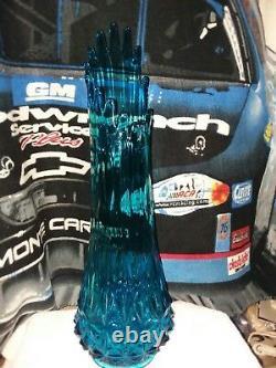 Vikings blue glass art floor vase 19