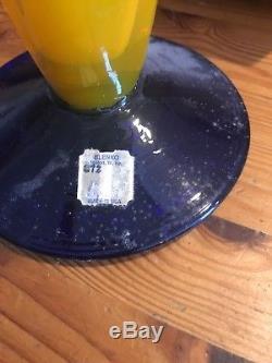 Vintage 12 3/8 Blenko Clam Fan Vase Blue Yellow Signed Richard 2000 Glass Vase