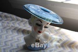 Vintage 1950's Blown Glass Hat Napco Lady Head Vase Spanish Senorita Cobalt