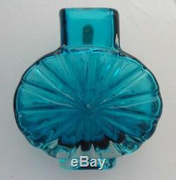 Vintage 1960s Whitefriars Baxter Kingfisher Blue Art Glass Sunburst Vase 9676