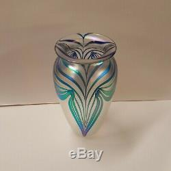 Vintage 2000 Robert Eickholt Iridescent Pulled Feather 7-1/2 Art Glass Vase