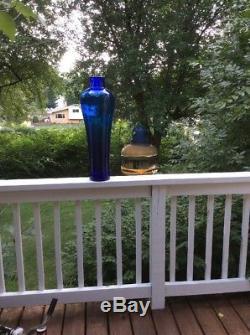 Vintage 24.5 Massive Tall Blenko Glass 8310 Floor Vase Architectural Cobalt