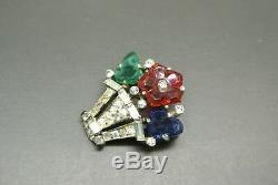 Vintage 40s Trifari fruit salad blue red green glass flower vase Brooch