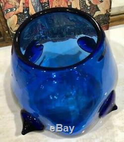 Vintage 50's BLENKO Cobalt Blue ART Glass VASE with Prunts by Wayne Husted