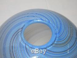 Vintage Antique LARGE Dino Marten Glass Blue Swirl Hand Blown Vase Murano