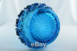 Vintage Art Glass Blue 22 LE SMITH Mid Century Modern Swung Pulled Vase
