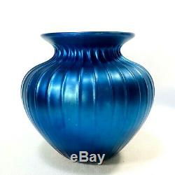 Vintage Art Glass Vase Tiffany Style Lundberg Studios Signed Dated Numbered