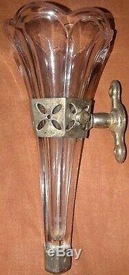 Vintage Auto Dash Flower Bud Vase Glass Silver Home Car 20's 30's 40's Accessory