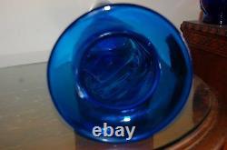 Vintage Blenko Art Glass Huge Blue Vase Hand Blown By Joel Myers 1960's