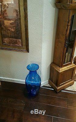 Vintage Blenko Blue Glass Big Vase 21' Hand Blown Floor vase