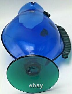 Vintage Blenko Glass Figural Fish Vase Handmade Blue Green Art Blown Pedestal