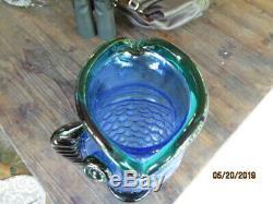 Vintage Blenko Handmade Art Glass Blue Green Fish Hank Adams 12